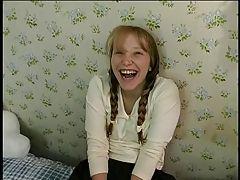 Horny schoolgirl in pigtails...