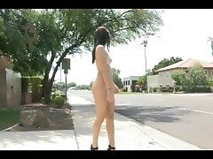 Public Nudity 6: She strips on...