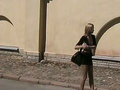 Naughty in public Blonde gal...
