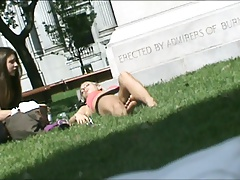 Teen laying on the lawn