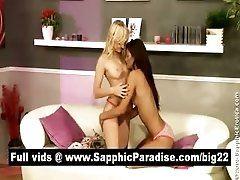 xhamster Hot brunette and blonde lesbos...