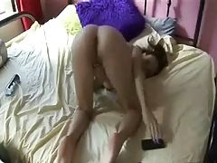 Girl strips and masturbates - NAKED