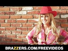 Busty blonde cowgirl goes for a...
