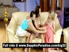 Cute blonde and brunette lesbos...