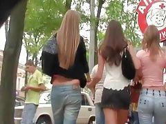 Voyeur Following Beautiful Girls