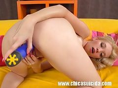 Horny blonde teen Mina playing...