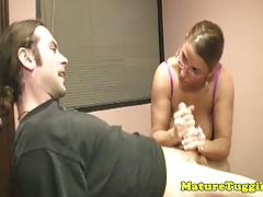 Bigtitted milf teacher tugs in...